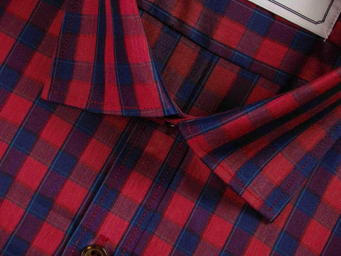 Men's Cotton Blend Check Shirt - Red Check (0649) - Theshirtfactory