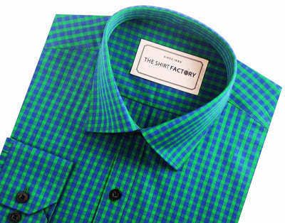 Men's Premium Cotton Check Shirt - Green (0639) - Theshirtfactory