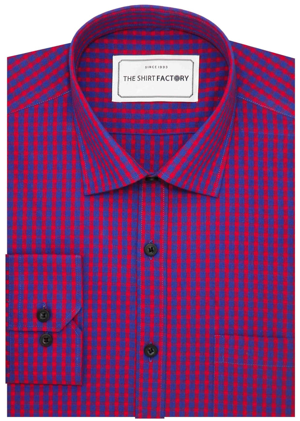Men's Premium Cotton Check Shirt - Red (0640) - Theshirtfactory