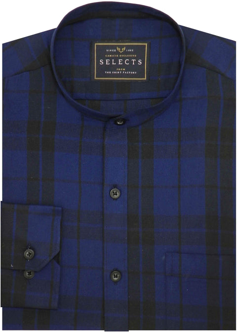 Selects Premium Cotton Twill Check Shirt with Mandarin Collar - Blue (0394-MAN) - Theshirtfactory