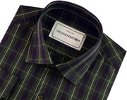 Men's Premium Cotton Check Shirt - Green (0370) - Theshirtfactory