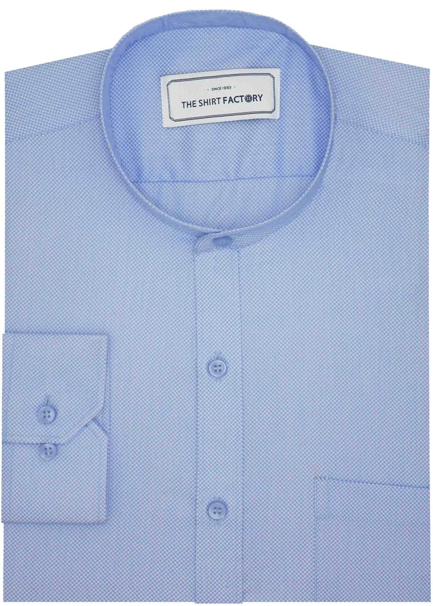 Cotton Plain Dobby Shirt with Mandarin Chinese Collar for Men Blue (0788-MAN) - Theshirtfactory