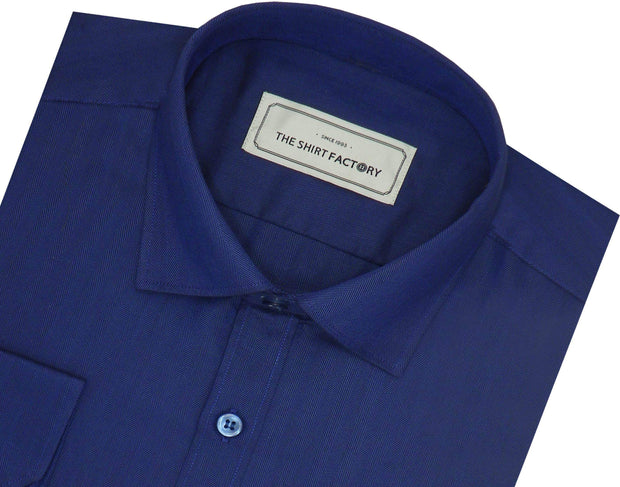 Men's Cotton Blend Plain Herringbone Shirt - Dark Indigo Blue (0815) - Theshirtfactory