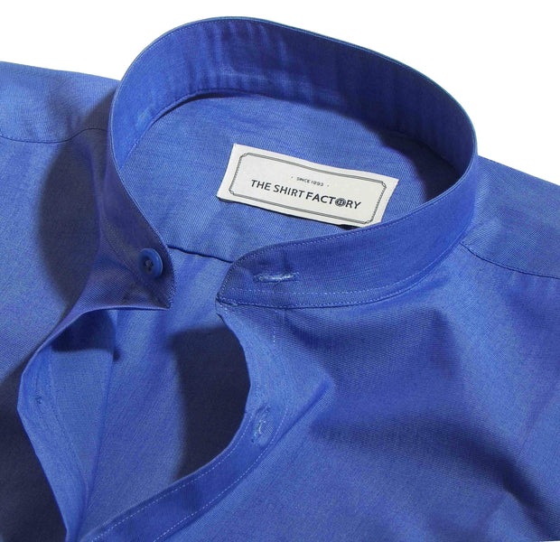 Men's Cotton Blend Plain Shirt with Mandarin Collar - Royal Blue (0179-MAN) - Theshirtfactory
