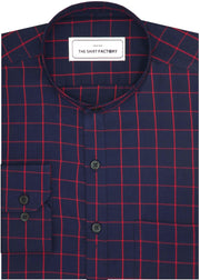 Men's Cotton Twill Check Shirt with Mandarin Collar - Navy (0930-MAN)