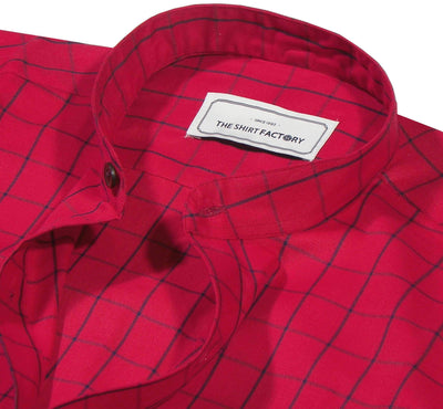 Men's Cotton Twill Check Shirt with Mandarin Collar - Red (0929-MAN) - Theshirtfactory