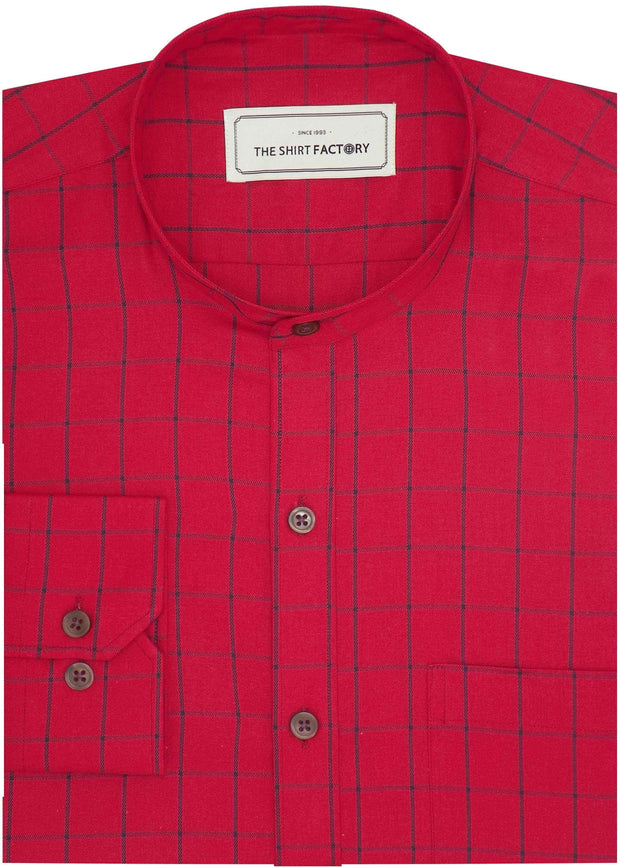 Men's Cotton Twill Check Shirt with Mandarin Collar - Red (0929-MAN)