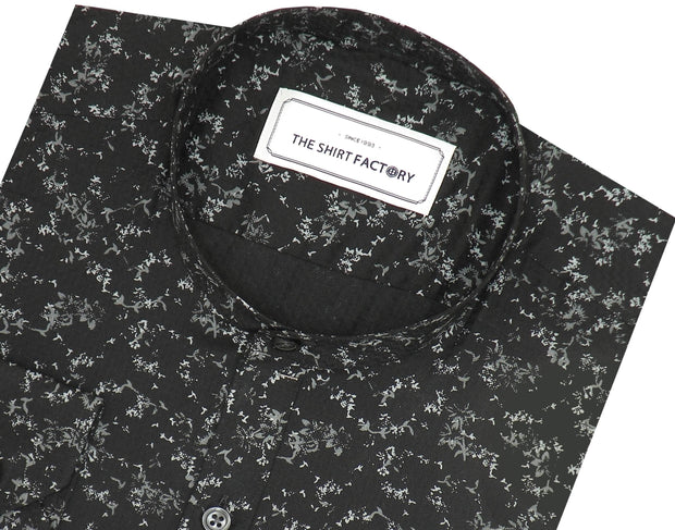Men's Cotton Printed Shirt with Mandarin Collar - Black (0365-MAN) - Theshirtfactory
