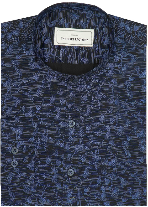 Men's Cotton Printed Shirt with Mandarin Collar - Blue (0421-MAN) - Theshirtfactory