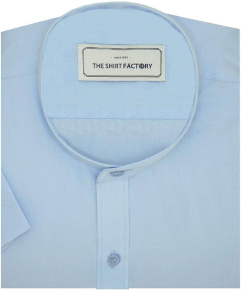 Poly Cotton Plain Dobby Shirt with Mandarin Chinese Collar for Men Sky Blue (0892-MAN) - Theshirtfactory