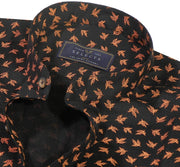 Selects Cotton Printed Shirt Linen Finish with Mandarin Collar - Black (0565-MAN) - Theshirtfactory