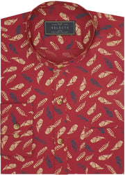 Selects Cotton Printed Shirt with Mandarin Collar - Red (0496-MAN)