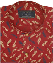 Selects Cotton Printed Shirt with Mandarin Collar - Red (0496-MAN) - Theshirtfactory