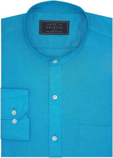 Selects Pure Linen Plain Shirt with Mandarin Collar - Blue (0534-MAN) - Theshirtfactory