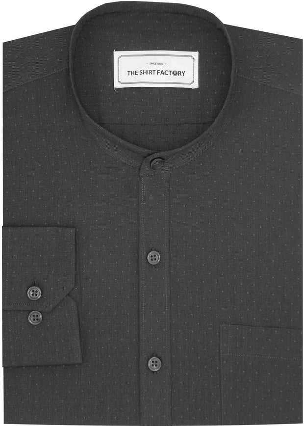 Men's Cotton Plain Dobby Shirt with Mandarin Chinese Collar for Men Black (0601-MAN) - Theshirtfactory