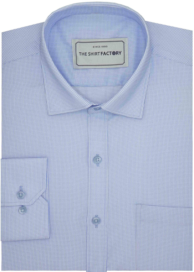 Men's Poly Cotton Dobby Plain Shirt - Light Blue (0777) - Theshirtfactory