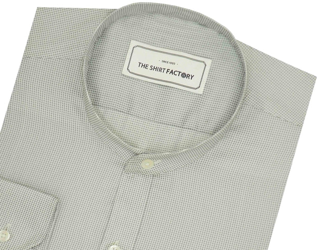 Poly Cotton Plain Dobby Shirt with Mandarin Chinese Collar for Men Grey (0779-MAN) - Theshirtfactory