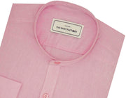 Poly Cotton Plain Shirt with Mandarin Chinese Collar for Men Pink (0029-MAN) - Theshirtfactory