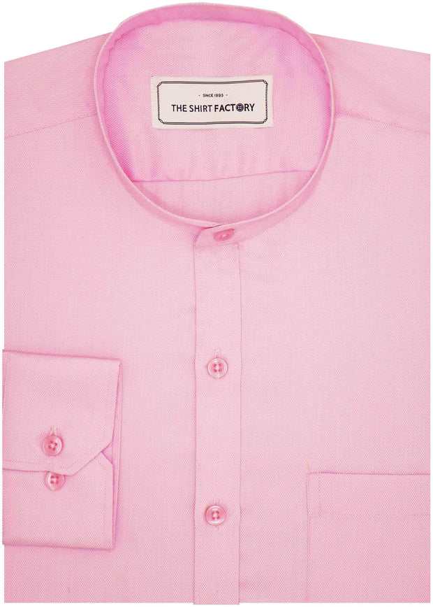 Poly Cotton Plain Dobby Shirt with Mandarin Chinese Collar for Men Pink (0764-MAN) - Theshirtfactory