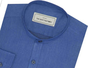 Poly Cotton Plain Shirt with Mandarin Chinese Collar for Men Blue (0757-MAN) - Theshirtfactory
