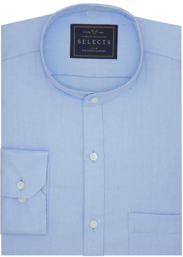 Selects 100% Cotton Plain Dobby Shirt with Mandarin Chinese Collar - Sky Blue (0508-MAN) - Theshirtfactory