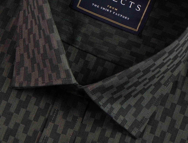 Selects Premium Cotton Dobby Printed Shirt - Black (0444) - Theshirtfactory
