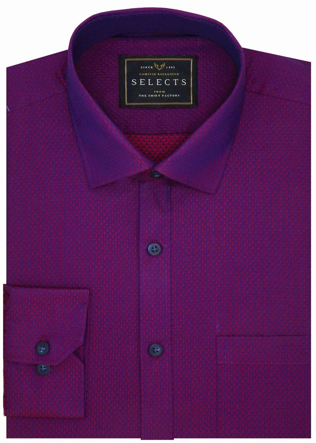 Selects Premium Cotton Dobby Printed Shirt - Deep Purple (0446) - Theshirtfactory