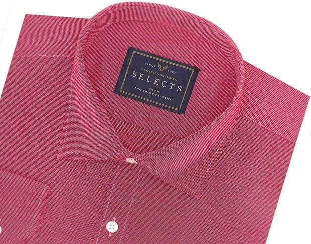 Selects 100% Cotton Dobby Plain Shirt - Light Red (0441) - Theshirtfactory