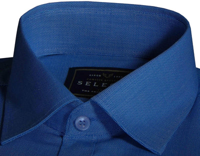Selects 100% Cotton Plain Dobby Shirt - Sapphire Blue (0439) - Theshirtfactory