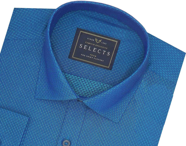 Selects Cotton Dobby Shirt Blue (0447) - Theshirtfactory