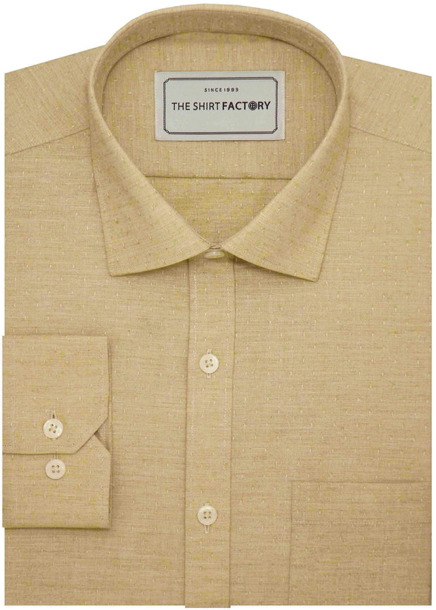 Men's 100% Cotton Dobby Shirt Beige - (0607) - Theshirtfactory
