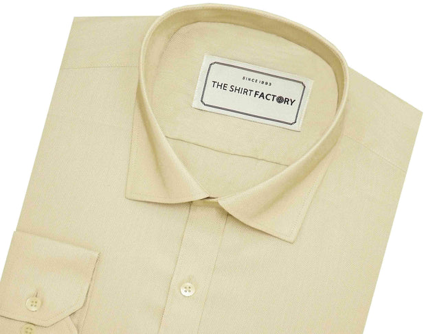 Men's Cotton Blend Dobby Plain Shirt - Beige (0762) - Theshirtfactory