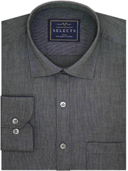 Selects 100% Cotton Plain Dobby Shirt - Metal Black (0440) - Theshirtfactory