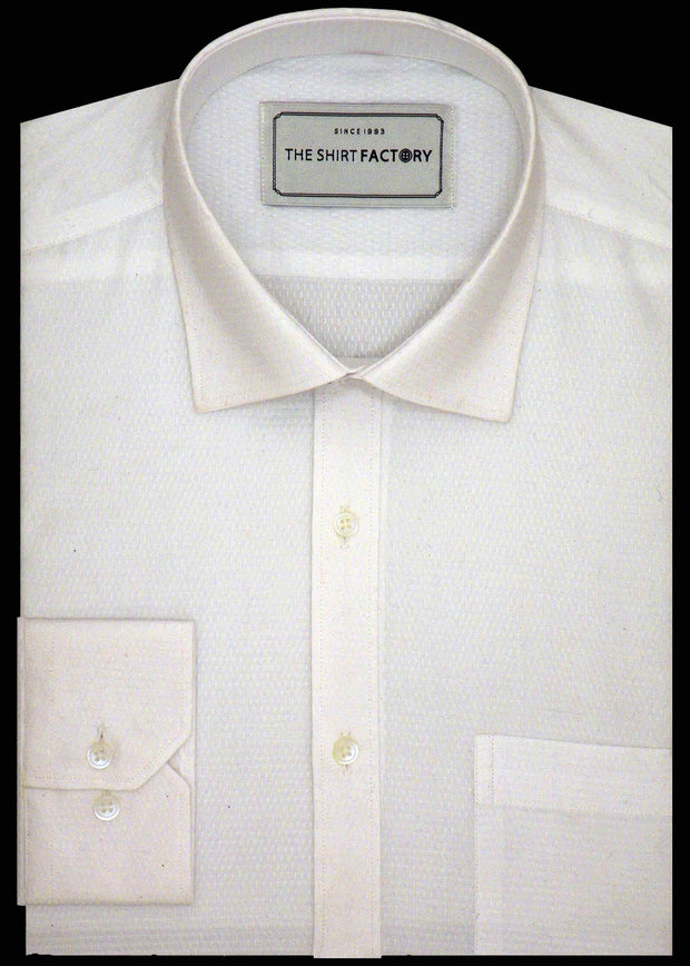 Men's 100% Cotton Dobby Shirt - White (0536) - Theshirtfactory