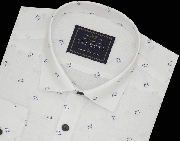 Selects Linen Cotton Blended Printed Full Half Sleeves Shirt - White (0870) - Theshirtfactory