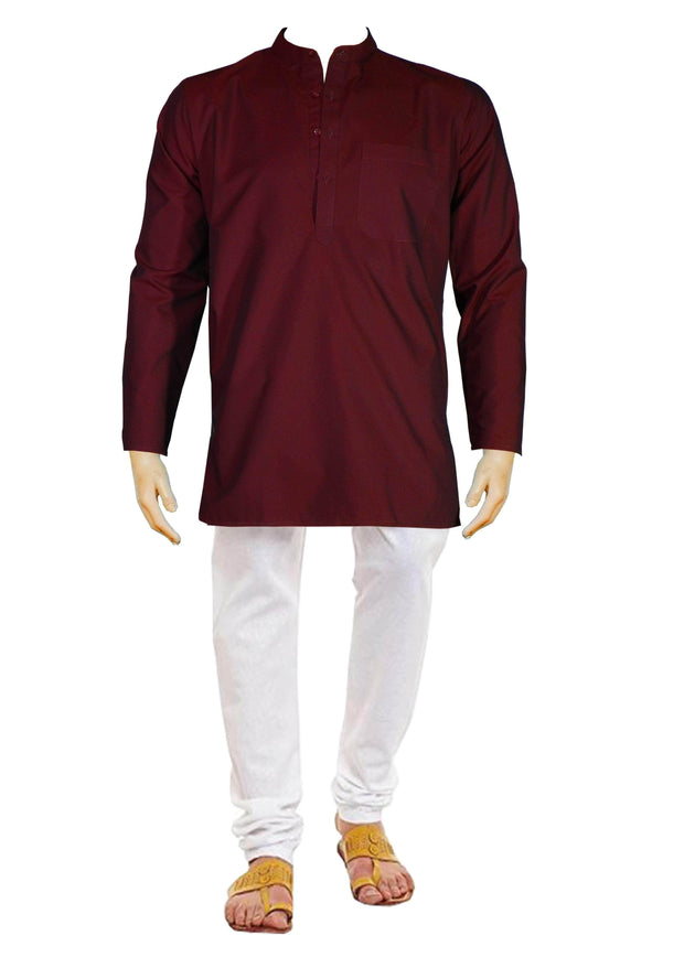 Men's Cotton Blend Plain Short Kurta Full Sleeves/Half Sleeves - Maroon (KUR-869) - Theshirtfactory
