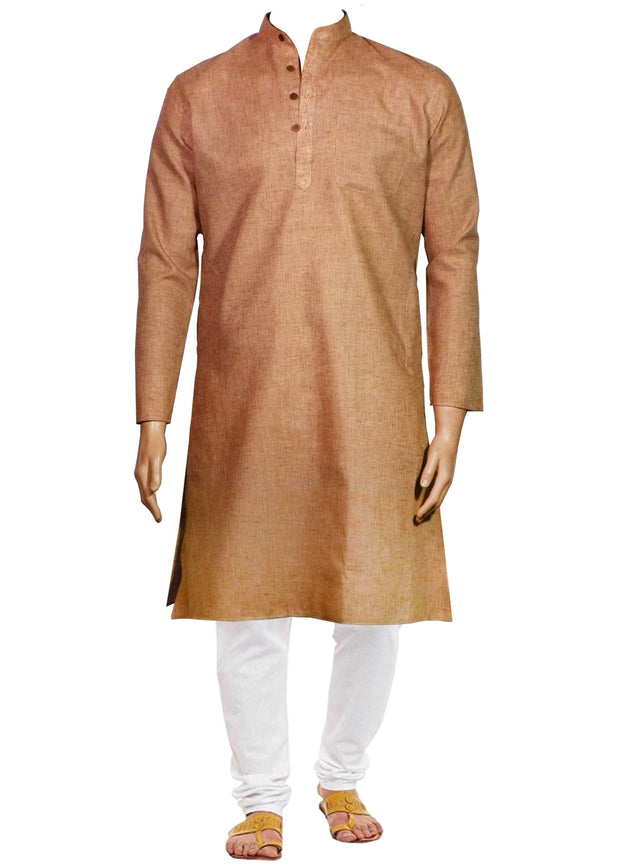 Men's Cotton Blend Plain Kurta Long - Brown (KUR-723) - Theshirtfactory