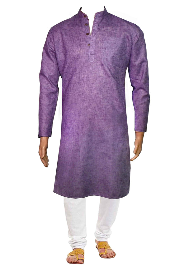 Men's Cotton Blend Plain Long Kurta - Purple (KUR-721) - Theshirtfactory