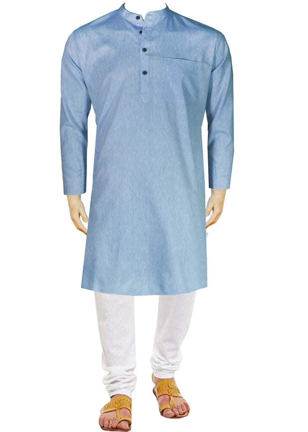 Men's Pure Cotton Plain Long Kurta - Blue (KUR-843) - Theshirtfactory