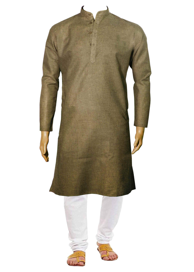 Men's Cotton Blend Plain Long Kurta - Tan (KUR-722) - Theshirtfactory