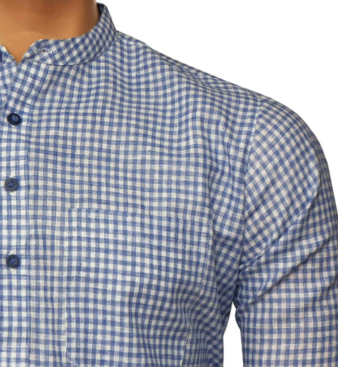 Men's Cotton Blend Check Short Kurta Full Sleeves/Half Sleeves - Blue Checks (KUR-738) - Theshirtfactory