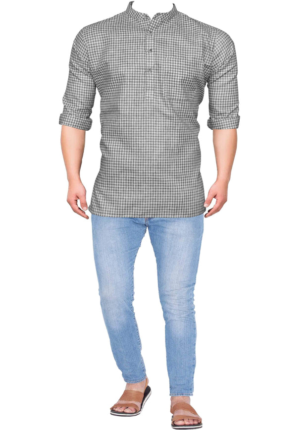 Men's Cotton Blend Check Short Kurta Full Sleeves/Half Sleeves - Grey Checks (KUR-739) - Theshirtfactory