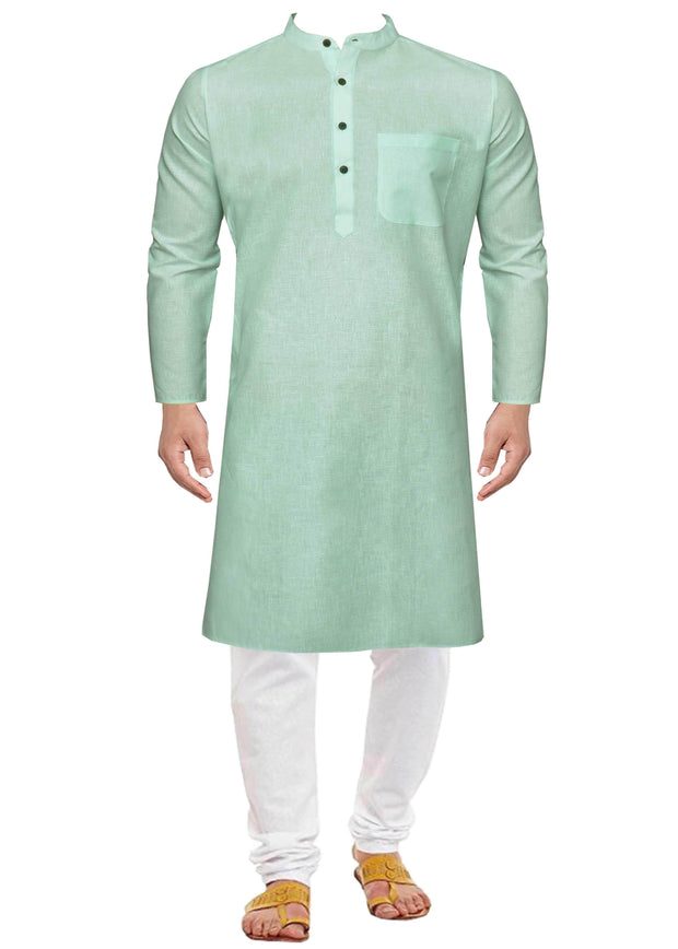 Men's Cotton Blend Plain Long Kurta - Light Blue (KUR-853) - Theshirtfactory