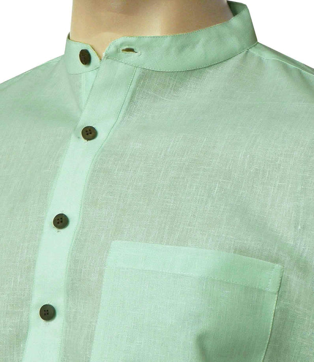 Men's Cotton Blend Plain Long Kurta - Light Lime Green (KUR-851) - Theshirtfactory