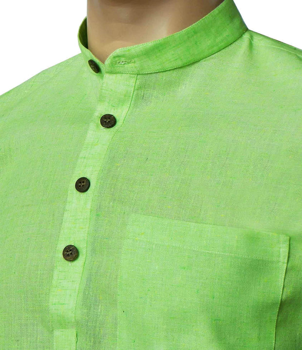 Men's Cotton Blend Plain Long Kurta - Lime Green (KUR-718) - Theshirtfactory