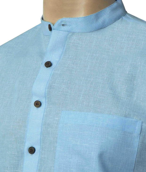 Men's Cotton Blend Plain Long Kurta - Sky Blue (KUR-855) - Theshirtfactory