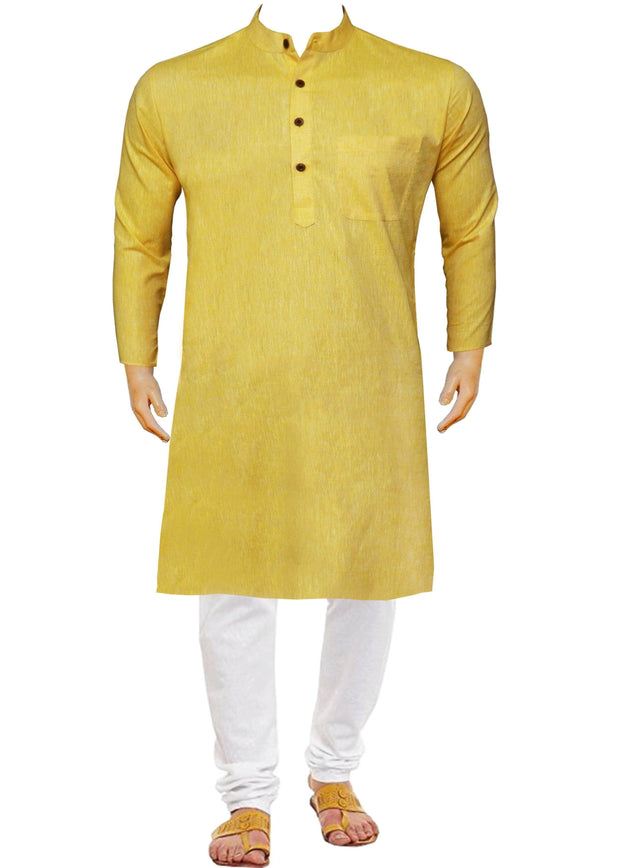 Men's Cotton Blend Plain Long Kurta - Yellow (KUR-719) - Theshirtfactory