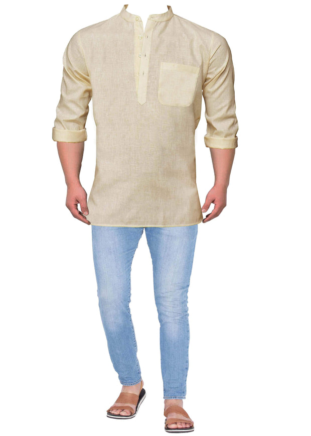 Men's Cotton Blend Plain Short Kurta Full Sleeves/Half Sleeves - Cream (KUR-850) - Theshirtfactory
