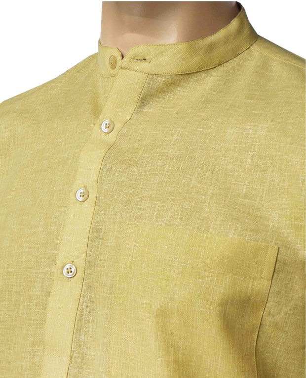 Men's Cotton Blend Plain Short Kurta Full Sleeves/Half Sleeves - Macaroon Beige (KUR-858) - Theshirtfactory