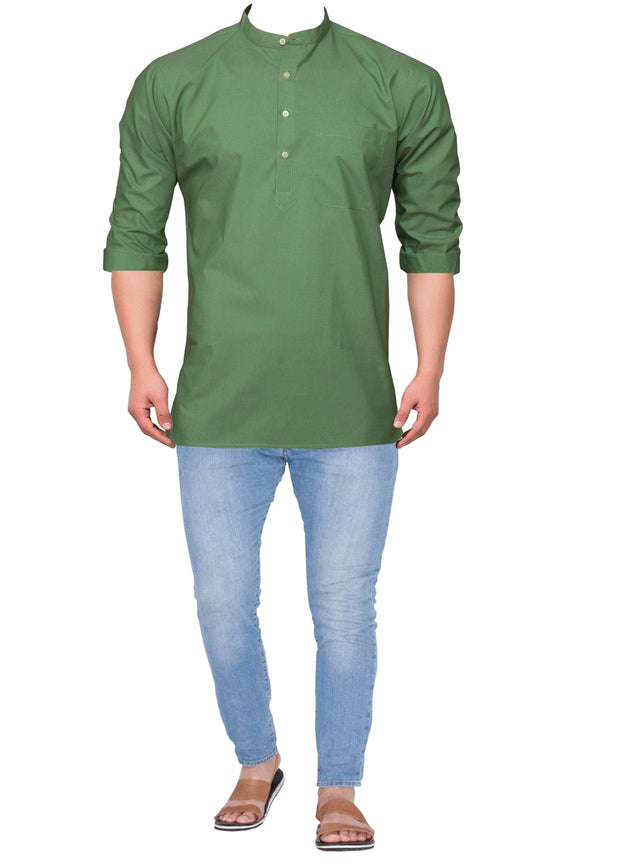 Men's Cotton Blend Plain Short Kurta Full Sleeves/Half Sleeves - Green (KUR-864) - Theshirtfactory